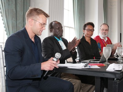 [left to right]: Blake Collins, John Yor Nyiker, Leisa Wagstaff and Dave Carver participate in a panel on mission partnership in South Sudan.