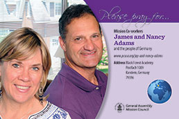 A prayer card with James and Nancy Adams
