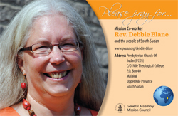 A prayer card with Debbie Blane