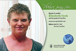 A prayer card with Elisabeth Cook
