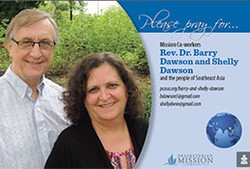 A prayer card with Rev. Dr. Barry Dawson and Shelly Dawson