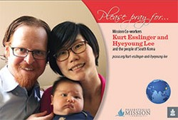 A prayer card with Kurt Esslinger and Hyeyoung Lee