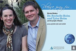 A prayer card with Dr. Rochelle Holm and Tyler Holm