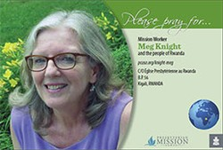 A prayer card with Meg Knight