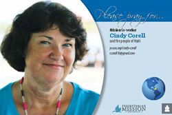 A prayer card with Cindy Corell