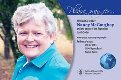 A prayer card with Nancy McGaughey