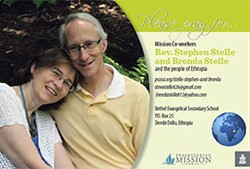 A prayer card with Rev. Stephen Stelle and Brenda Stelle