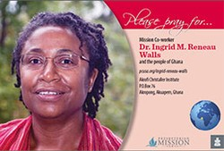 A prayer card with Dr. Ingrid M. Reneau Walls