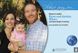 A prayer card with Ryan and Alethia White