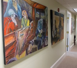 Lucy Janjigian's series of paintings entitled 'Homeless' on display at the Presbyterian Office of Public Witness in Washington, D.C.
