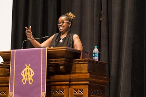 Aisha Brooks-Lyle, minister of mission at Wayne Presbyterian Church in Philadelphia, preaches at the NEXT Church national gathering in Atlanta, Feb. 23, 2016.