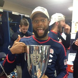 Andrew Farrell with Eastern Conference Championship trophy