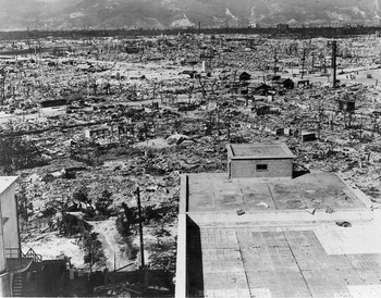 Hiroshima, after the first atomic bomb explosion. This view was taken from the Red Cross Hospital Building about one mile from the bomb's detonation.