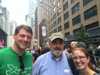 Ryan Smith (L), Bill Somplatsky-Jarman (C) and Rebecca Barnes (R) participated in the People's Climate March in New York City last year.