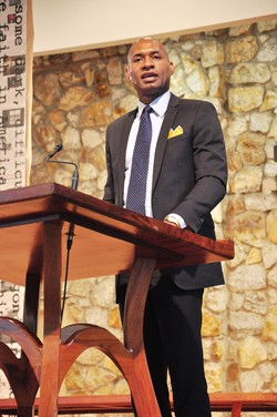 New York Columnist and CNN Commentator Charles Blow speaks at Montreat during a three-day conference commemorating the 50th anniversary of the Rev. Dr. Martin Luther King, Jr.s' appearance at Anderson Auditorium.