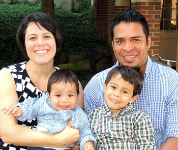 Amanda Craft and Omar Chan with their children at a mission co-worker orientation.