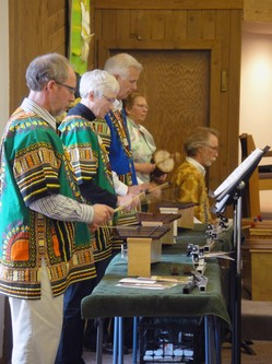 The African Drum Ensemble practices for Easter worship at Union Presbyterian Church in Monroe, Wisconsin.