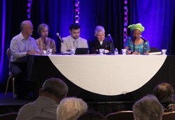 Panel discussion on the churches' response to systems of exploitation, moderated by David Schilling (far right) with the Interfaith Center on Corporate Responsibility.