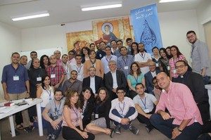WCC general secretary Olav Fykse Tveit with students, organizers and faculty of the Ecumenical Institute for the Middle East in Beirut, Lebanon.