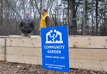 Eric Markman, pastor, and Michael Fitzgerald, ruling elder and member of Session at Hartford Street Presbyterian Church, Natick, Mass., are shown in the community garden.