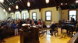 A full-capacity crowd at First Presbyterian Church, Clarks Summit, Pa., gathered for the annual Jazz Communion service Sept. 6, 2015.