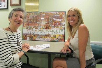 Peggy Rada (left) and Amanda Ashcraft, Fifth Avenue Presbyterian Church's director of outreach ministries, at the church's men's shelter.