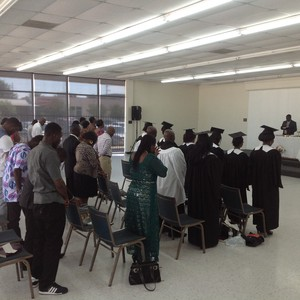 Presbyterian Church of the Redeemer worships in its new storefront space. In the past month, five new people have started coming to this now 50-member Ghanaian new worshiping community.