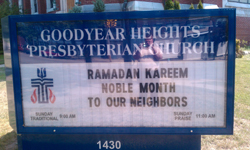 "A church sign that says; ""Ramadan Kareeem, noble month to our neighbors."""