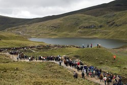 Residents of Cajamarca, Peru, stage a World Water Day protest against a proposed gold mine they say will ruin the town's water supply and traditional agriculture.
