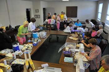 A typical busy day for the Bag Ladies, who have delivered care packages to more than 2,000 children since 2008.