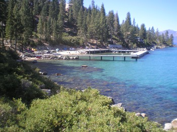 The half-mile of Lake Tahoe waterfront at Zephyr Point includes a swimming beach and two docks for sunbathing, water sports and star-gazing at night.