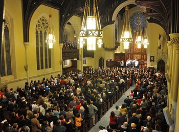 The newly renovated sanctuary at Church of the Covenant was filled for the Holiday CircleFest carol-sing.