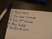 "A task list of a New Day participant which includes ""Don't drop out."""