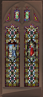 Large stained glass windows from a church.