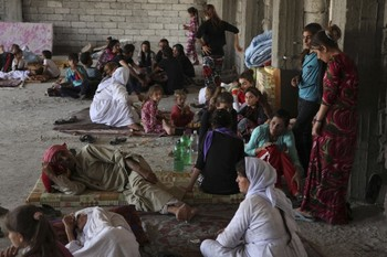 Displaced families from the minority Yazidi religious group