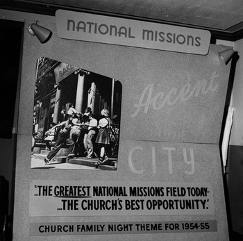 National Missions exhibit at the Presbyterian Church in the U.S.A. General Assembly in Detroit, 1954.