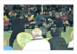 "Dancers and drummers celebrate reconciliation at the ""New Beginning"" event in Gambell, Alaska on March 10."