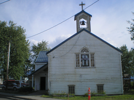 The exterior of Hoonah Presbyterian Church.
