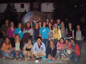 A group of youth delegates in Hungary together for a photo.