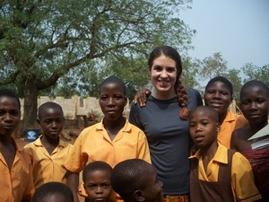 young woman with Ghanaian students