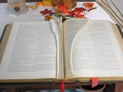 An historic Bible whose pages were torn out
