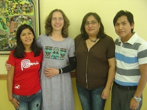 Karla Koll (second from left) with UBL students from Peru and Chile.