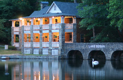 A lakeside view of the Left Bank Building at Montreat Conference Center.