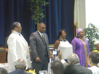 The 2009-11 executive board of the NBPC was installed Aug. 1. From left to right: Arthur Canada, treasurer; Gregory Bentley, president; Karen Brown, vice president; Marvella Lambright, secretary.