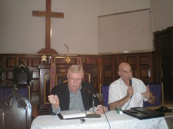 PC(USA) Stated Clerk the Rev. Gradye Parsons and the delegation's translator