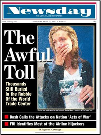 "The photo of a newspaper, two days after 9/11, with the title, ""The Awful Toll""."