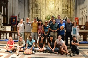 Youth from Grace Presbyterian Church and those from St. Phillip's Episcopal Church in Nablus, Palestine, with which Grace has a partnership, pose in front of the Jerusalem Altar in the Washington National Cathedral.