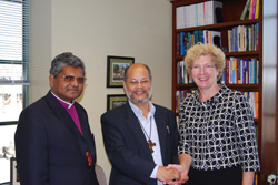 Most Rev. Purely Lyngdoh, moderator of the Church of North India, (center), and the Rt. Rev. Philip P. Marandi, the church's deputy moderator, spoke with GAMC Executive Director Linda Valentine during a recent visit to the Presbyterian Center.