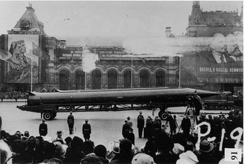 A Soviet theater missile rolls across Red Square in the early 1960s, the same missile introduced in Cuba in October 1962.