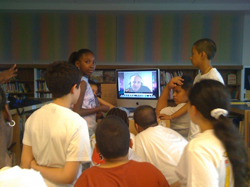 PC(USA) mission worker Jed Koball talks via Skype with school kids in Brooklyn, NY